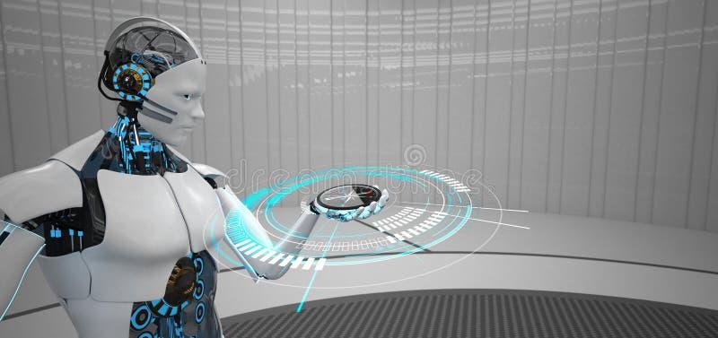 Humanoid robotkompass stock illustrationer