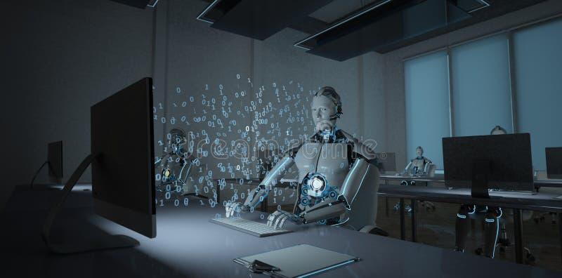 Humanoid robotkontor royaltyfri illustrationer