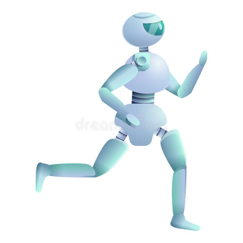 Humanoid is running icon, cartoon style royalty free illustration