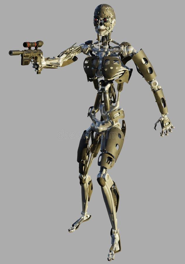 Humanoid skelett- robot som siktar ett vapen royaltyfri illustrationer