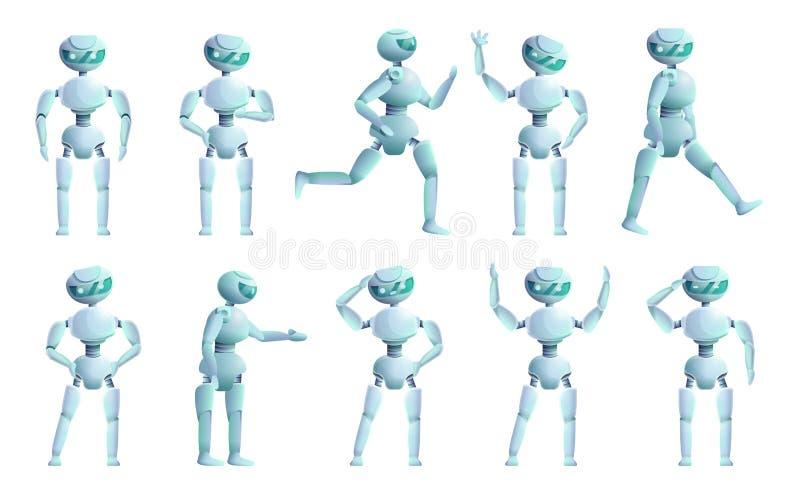 Humanoid symboler uppsättning, tecknad filmstil stock illustrationer