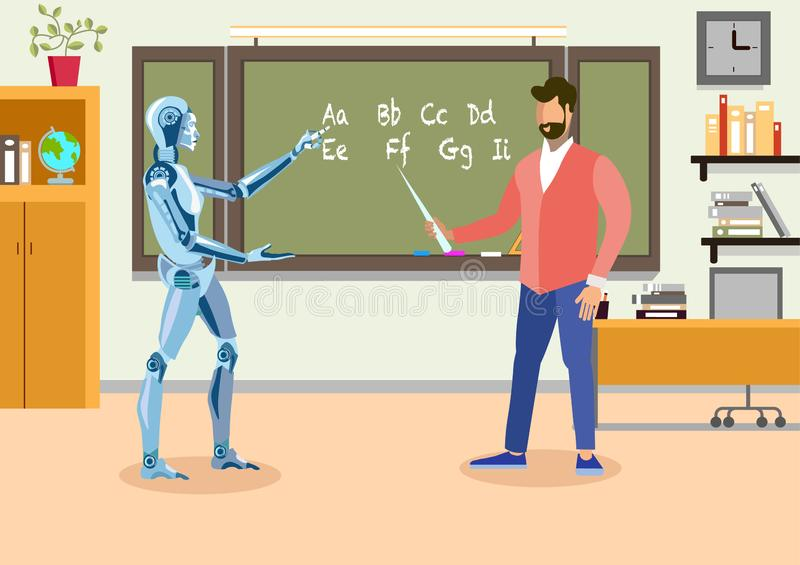 Humanoid Teacher in Classroom Flat Illustration stock illustration