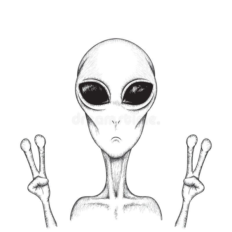 Humanoid toont een teken van vrede vector illustratie