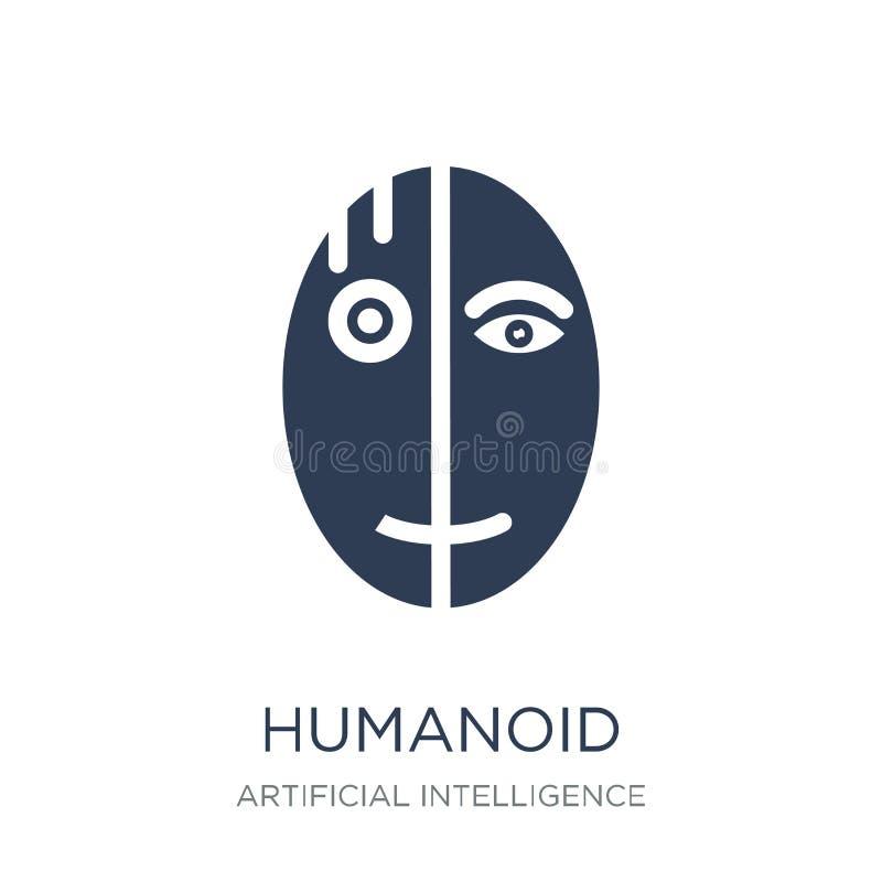 humanoidpictogram In vlak vectorhumanoid-pictogram op witte backgro royalty-vrije illustratie
