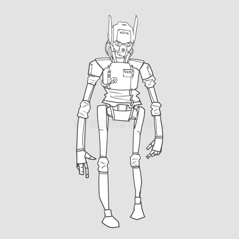 Humanoidrobot, androïde met kunstmatige intelligentie Geïsoleerde contour vectorillustratie, stock illustratie