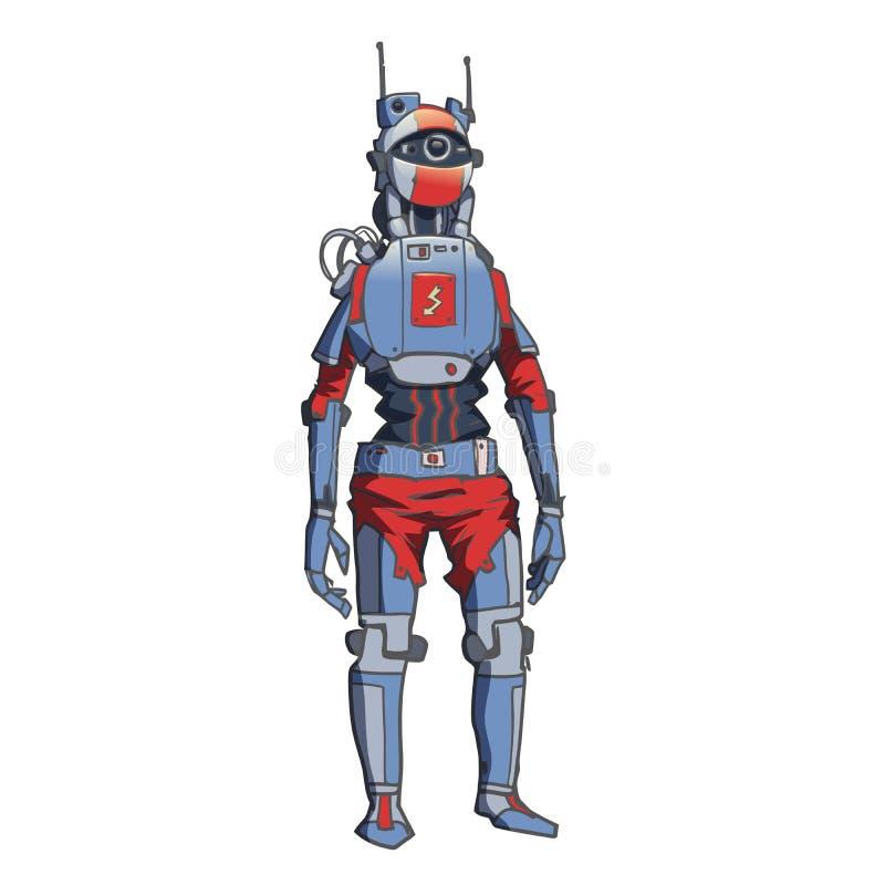 Humanoidrobot, androïde met kunstmatige intelligentie Vector illustratie die op witte achtergrond wordt geïsoleerdd royalty-vrije illustratie