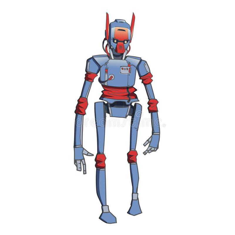 Humanoidrobot, androïde met kunstmatige intelligentie Vector illustratie die op witte achtergrond wordt geïsoleerdd stock illustratie