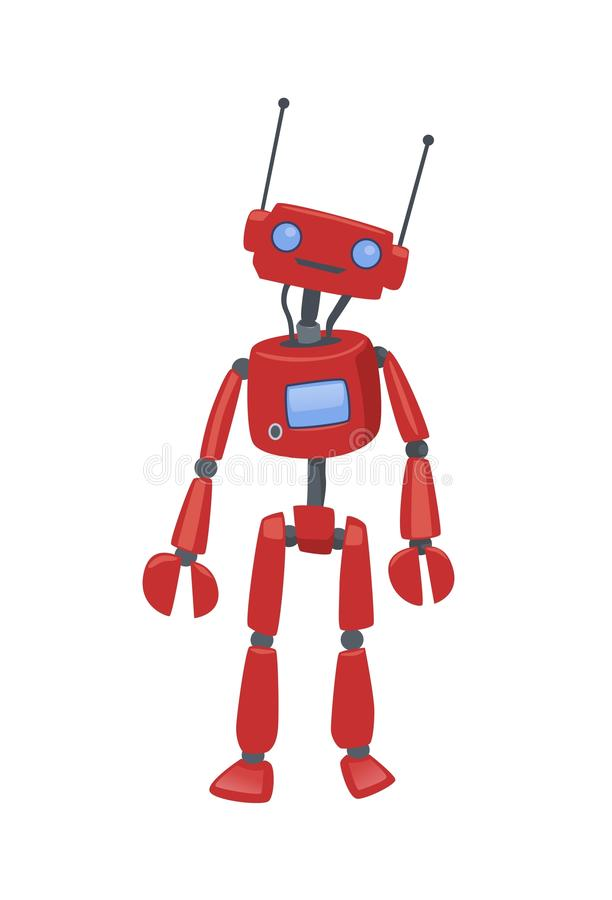 Humanoidrobot, android med konstgjord intelligens Vektorillustration som isoleras på vit bakgrund royaltyfri illustrationer