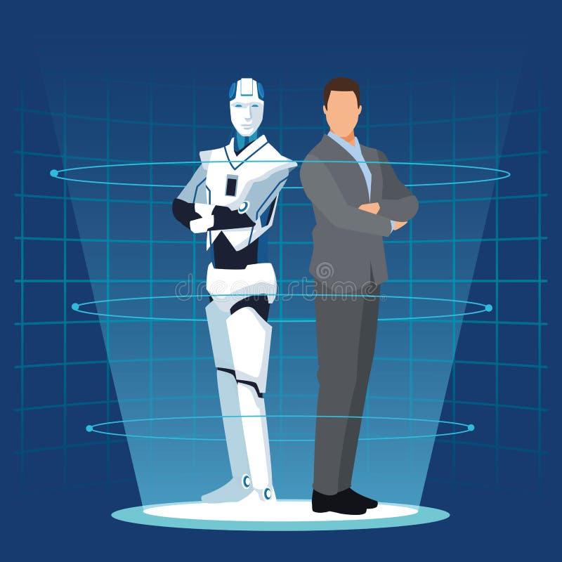 Humanoidrobot en zakenman vector illustratie