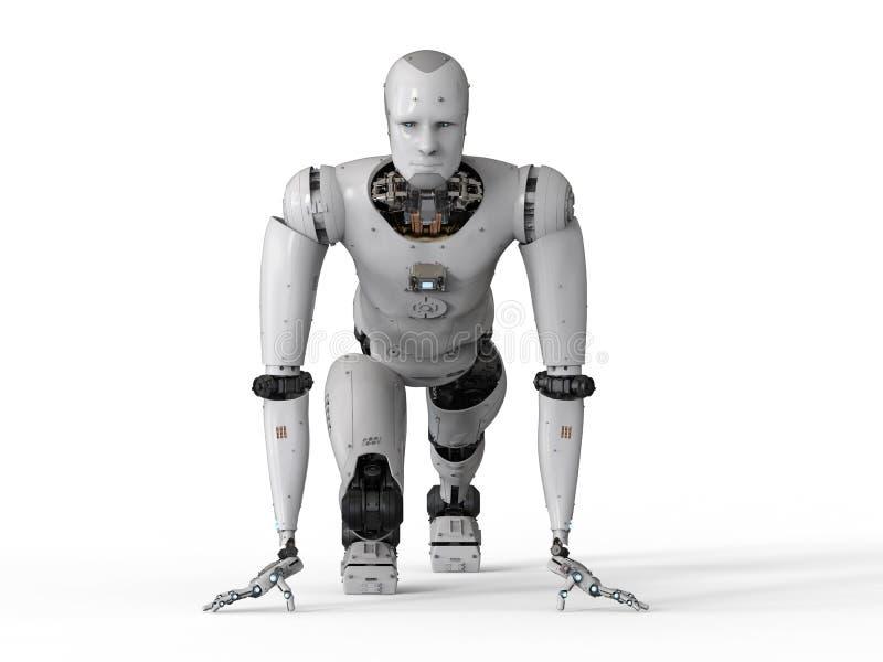 Humanoidrobot het lopen vector illustratie