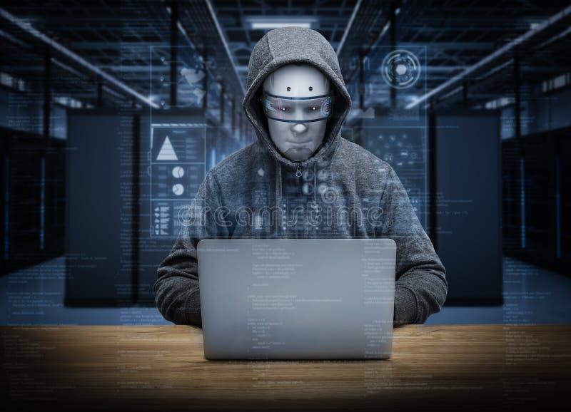 Humanoidroboten hacker vektor illustrationer