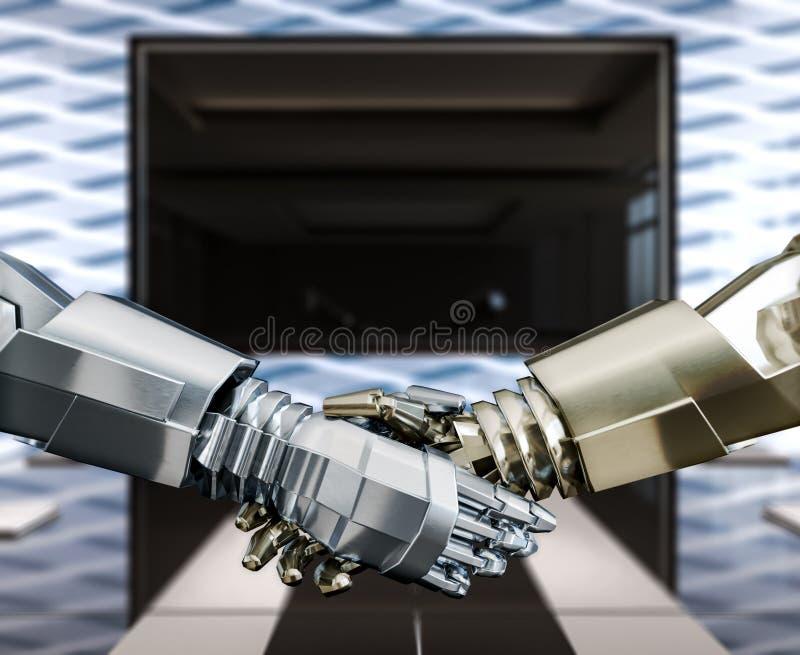 Humanoids bedrijfshanddruk, vertrouwen en vennootschap, concept stock illustratie