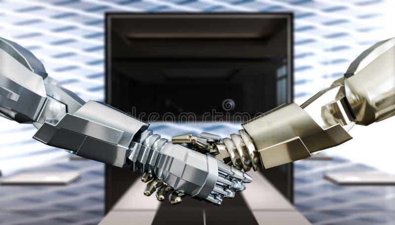 Humanoids bedrijfshanddruk, vertrouwen en vennootschap, concept royalty-vrije illustratie