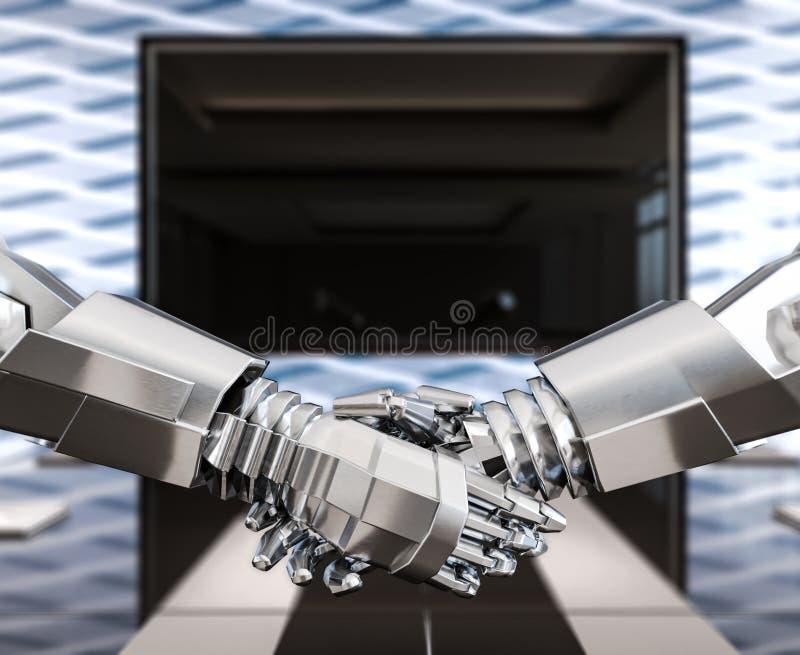 Humanoids bedrijfshanddruk, vertrouwen en vennootschap, concept vector illustratie
