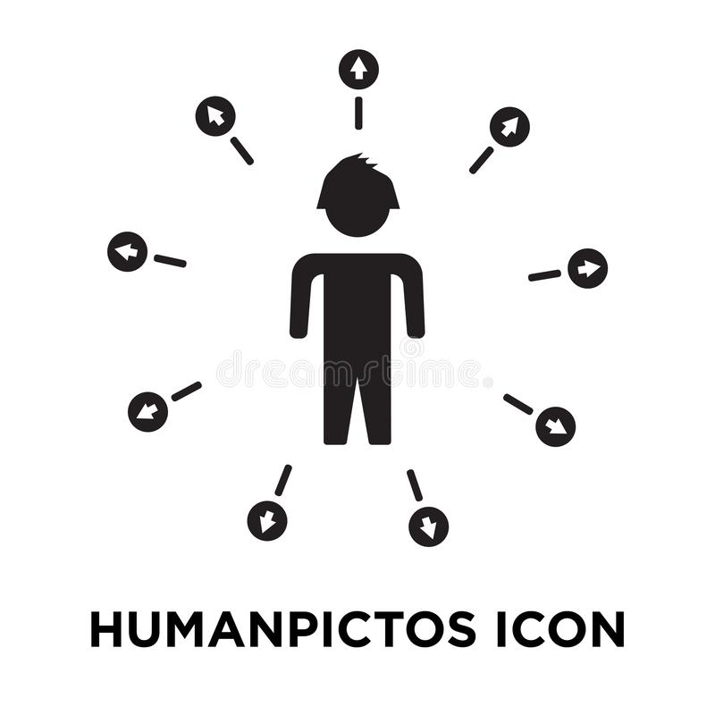 Humanpictos ikony wektor odizolowywający na białym tle, loga conce ilustracji