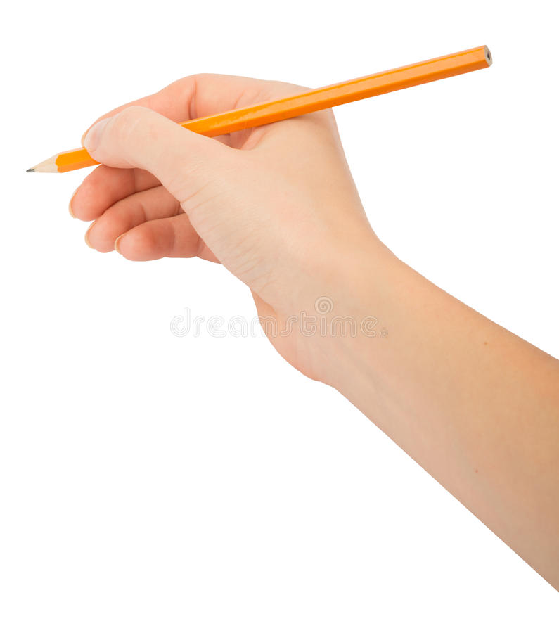 Humans hand holding pencil stock photo