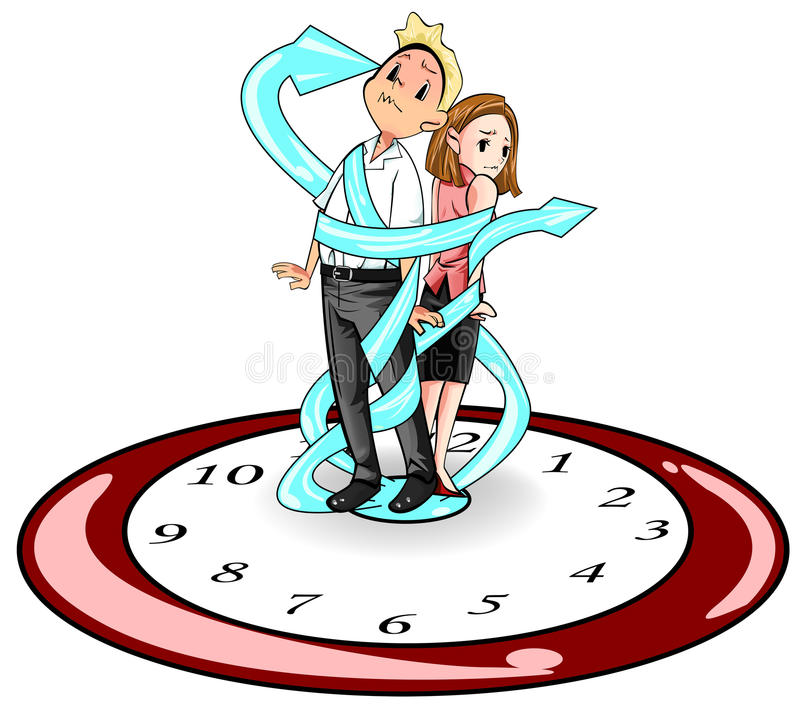 Humans are imprisoned by time (vector) 2. Man and woman in present days are imprisoned and bounded by time like standing on a giant clock and strap by the clock vector illustration