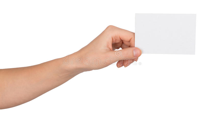 Humans left hand with small blank paper royalty free stock image