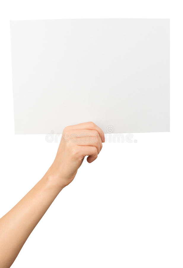 Humans right hand holding big white card royalty free stock photos