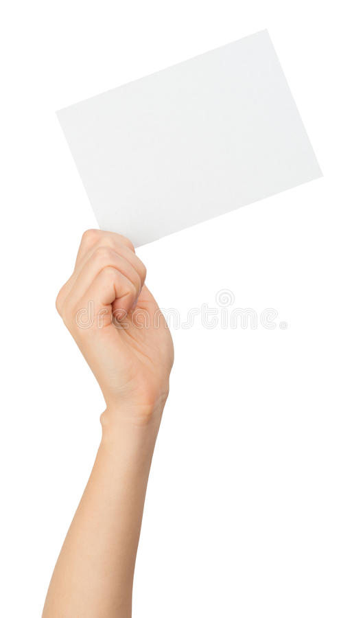 Humans right hand holding small blank card royalty free stock images