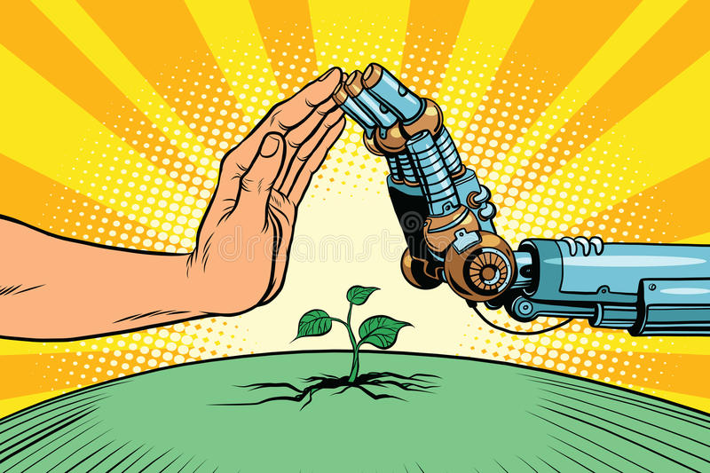 Humans and robots protect nature. Ecology green sprout. Pop art retro vector vintage illustration. Earth day and eco policy vector illustration
