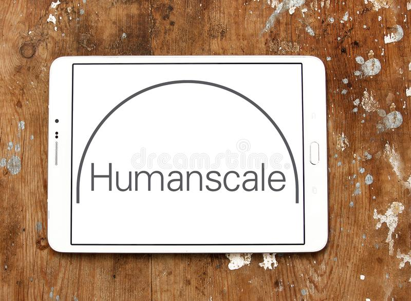 Humanscale manufacturer logo. Logo of Humanscale manufacturer on samsung tablet. Humanscale is the leading manufacturer of ergonomic office tools. From task stock image