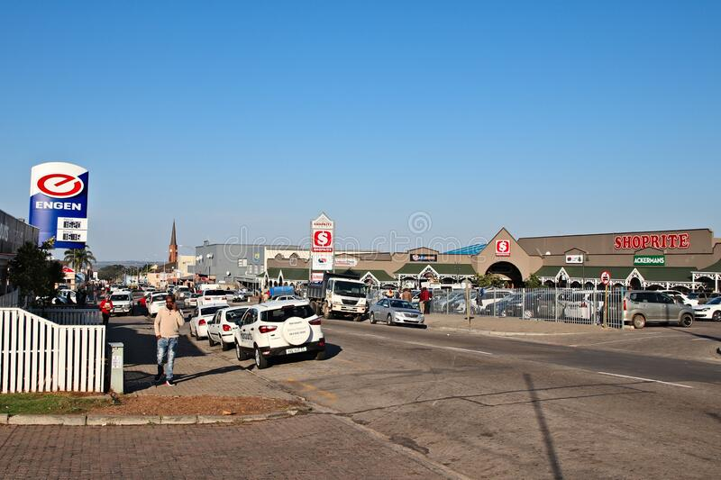 Humansdorp central business district. A landscape image of the central business district of the town of Humansdorp stock photos