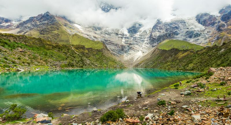 Humantay lake in Peru on Salcantay mountain in the Andes royalty free stock photography