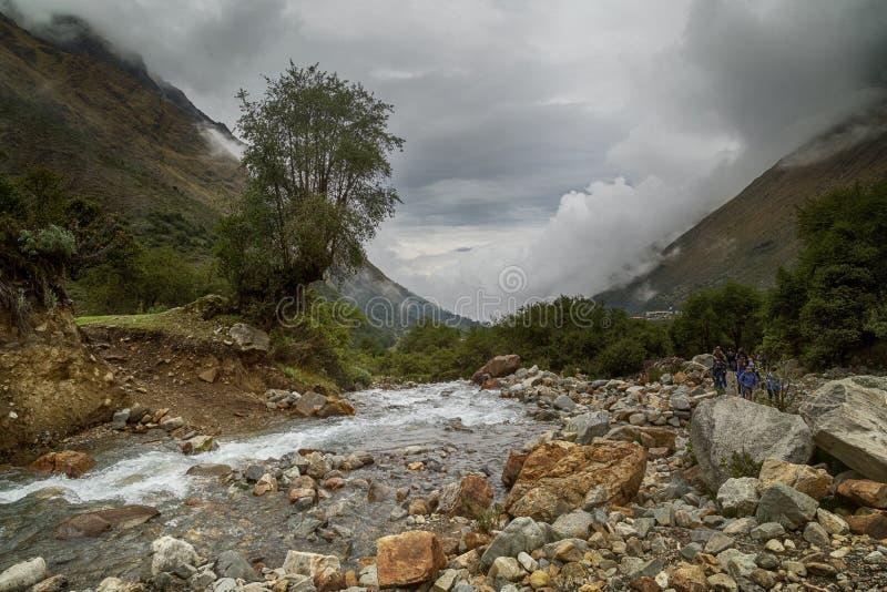 Humantaymeer bij Salkantay-trek, Peru, dat in de Cordillera Vilcabamba, Cusco wordt gevestigd stock fotografie