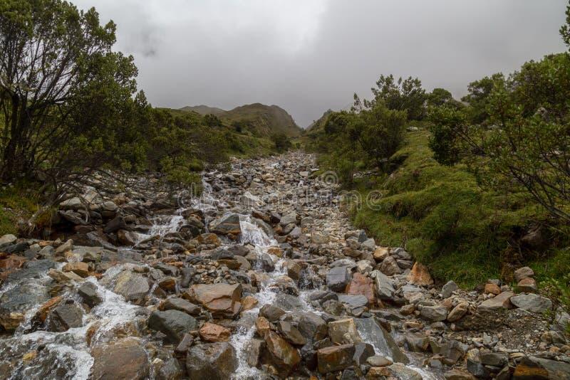 Humantaymeer bij Salkantay-trek, Peru, in de Cordillera Vilcabamba, Cusco wordt gevestigd die stock afbeelding