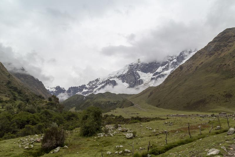 Humantaymeer bij Salkantay-trek, Peru, in de Cordillera Vilcabamba, Cusco wordt gevestigd die stock foto