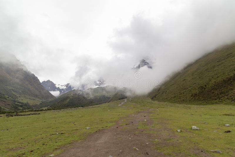 Humantaymeer bij Salkantay-trek, Peru, in de Cordillera Vilcabamba, Cusco wordt gevestigd die stock foto's