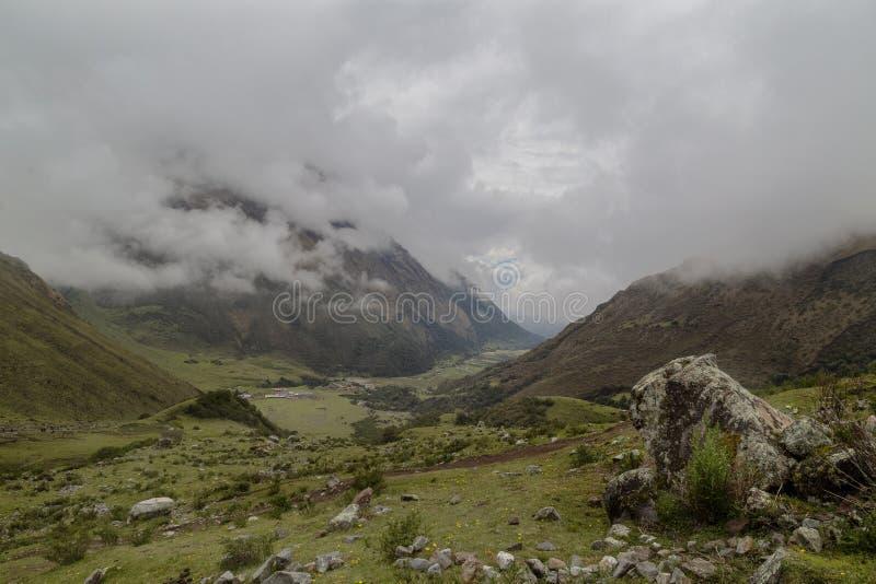 Humantaymeer bij Salkantay-trek, Peru, in de Cordillera Vilcabamba, Cusco wordt gevestigd die royalty-vrije stock fotografie