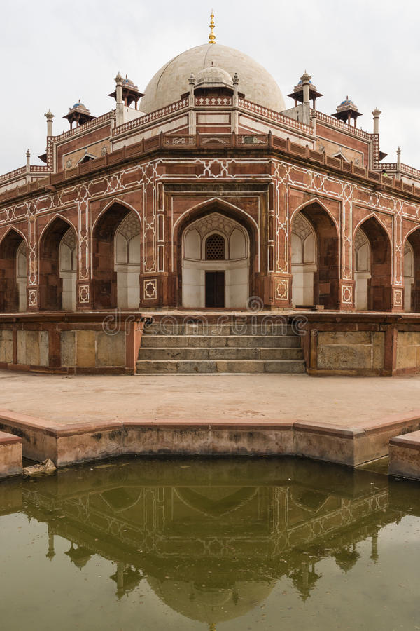 Humayun's tomb and its reflection in water in Delhi. stock photos