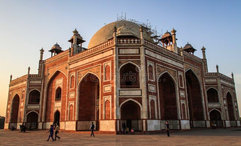 Humayun在日落的` s坟茔,德里,印度 库存照片