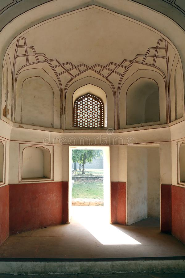 Humayun gravvalv i Delhi, Indien arkivfoto
