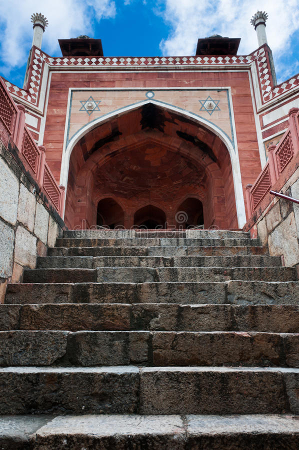 Humayun`s Tomb arch with stairway, Delhi, India. stock image
