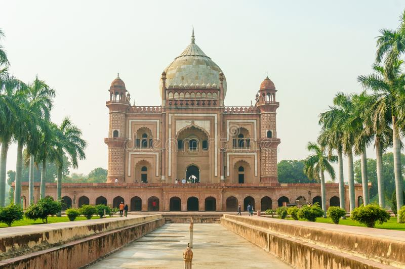 Humayun`s tomb and char bagh gardens in Delhi stock photo