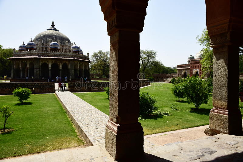 Humayun`s Tomb in India. Humayun`s Tomb is a complex of Mughal architecture, located in Delhi. The tomb of Emperor Humayun is located here. The tomb was built in royalty free stock images