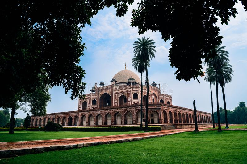 A place full of wow!. Humayun`s tomb is the tomb of the Mughal Emperor Humayun in Delhi, India. This tomb, built in 1570, is of particular cultural significance stock images