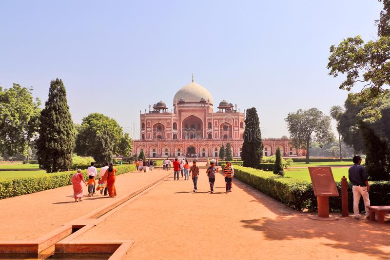 Humayun`s tomb is the tomb of the Mughal Emperor Humayun in Delhi, India. Mughal Emperor Humayun tomb was commissioned by his wife Bega Begum in 1569-70 royalty free stock photo