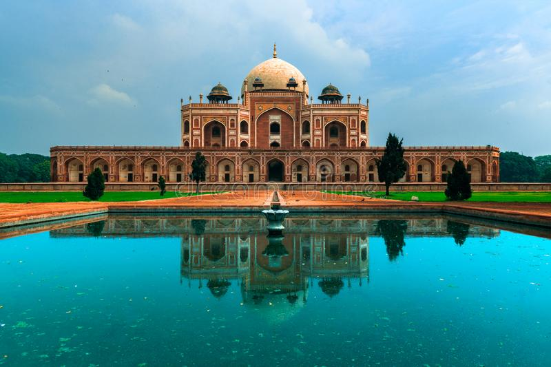 A place full of wow!. Humayun`s tomb is the tomb of the Mughal Emperor Humayun in Delhi, India. This tomb, built in 1570, is of particular cultural significance stock photo