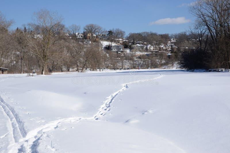 Humber för snö för sikt ner fryst dold flod arkivfoto