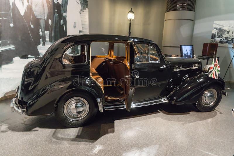 Humber Super Watersnip 1946 bij de tentoonstelling in de Koning Abdullah II automuseum in Amman, de hoofdstad van Jordanië stock afbeeldingen