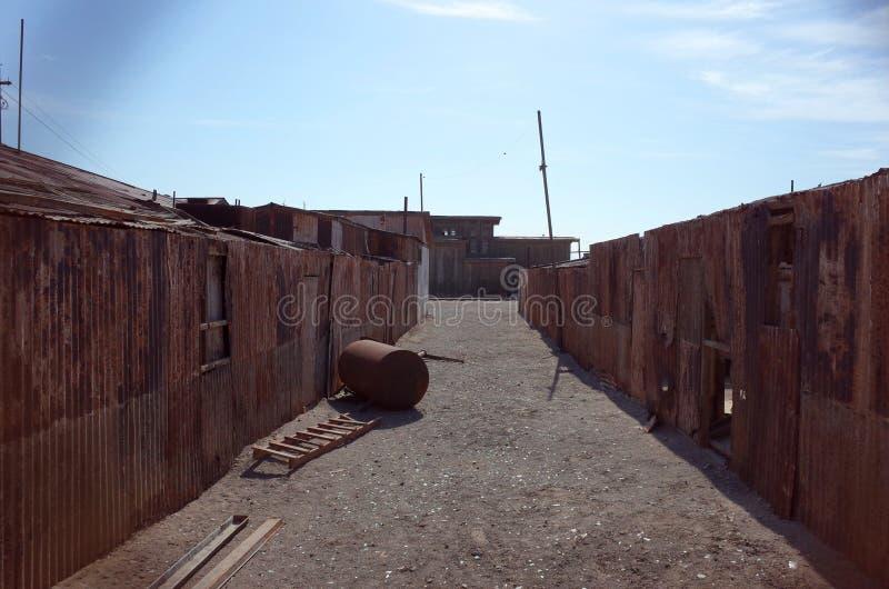 Humberstone硝石Worksm在北智利 免版税库存图片
