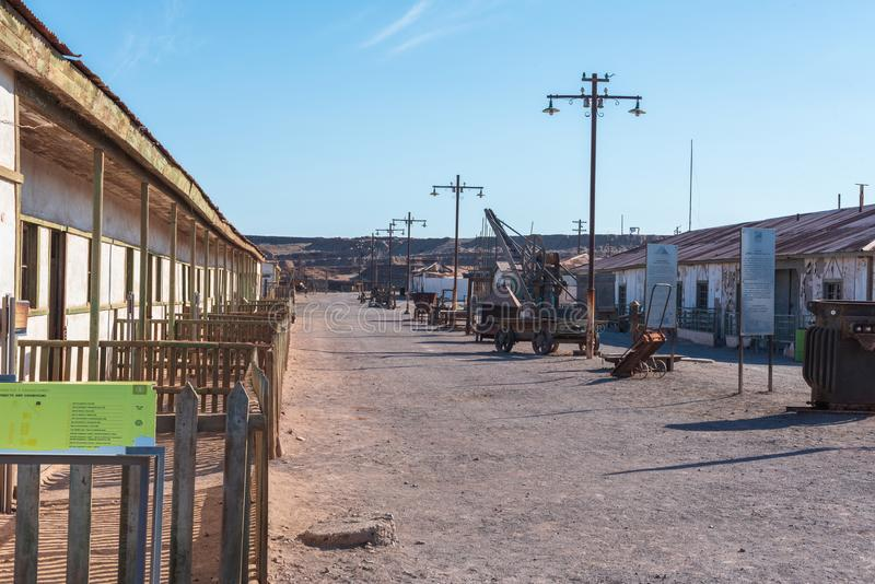 The Humberton Ghost Town in Chile. Humberton, Chile--April 9, 2018. Photo of a street in Humberton, Chile, and abandoned mining town, now preserved as a museum royalty free stock photos