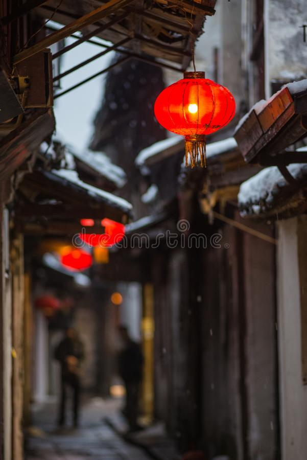 Humble Administrator`s Garden lane in snow, ancient suzhou, china. Humble Administrator`s Garden lane in snow winter, which is a UNESCO World Heritage Site in royalty free stock photo