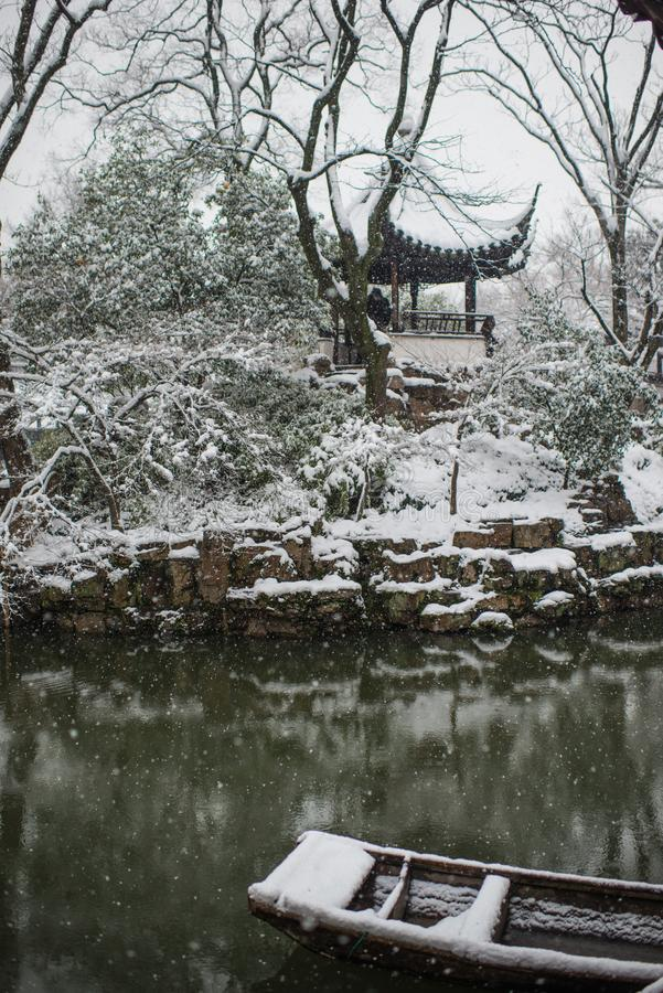 Humble Administrator`s Garden pond in snow, ancient suzhou, china. Humble Administrator`s Garden pond in snow winter, which is a UNESCO World Heritage Site in royalty free stock image