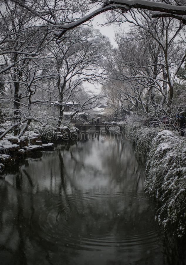 Humble Administrator`s Garden pond in snow, ancient suzhou, china. Humble Administrator`s Garden pond in snow winter, which is a UNESCO World Heritage Site in stock photo