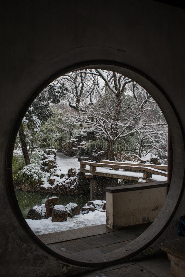 Humble Administrator`s Garden in snow, ancient suzhou, china. Humble Administrator`s Garden in snow winter, which is a UNESCO World Heritage Site in suzhou royalty free stock photography